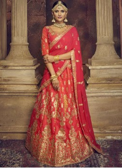 Red Art Silk Bridal Lehenga Choli