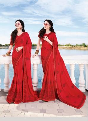 Red Chiffon Satin Embroidered Classic Designer Saree