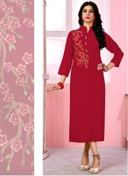 Red Color Designer Kurti