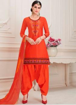 Red Cotton Designer Patiala Salwar Kameez