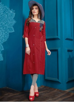 Red Cotton Festival Party Wear Kurti