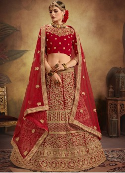 Red Embroidered Designer Bridal Lehenga Choli