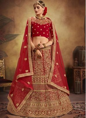 Red Embroidered Designer Bridal Lehenga Choli