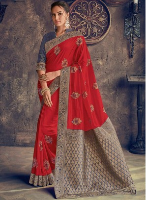 Red Embroidered Poly Silk Designer Saree