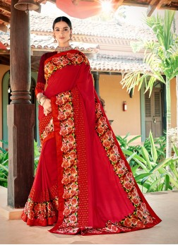 Red Embroidered Sangeet Trendy Saree