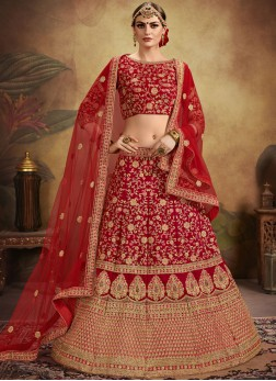Red Embroidered Velvet Bridal Lehenga Choli