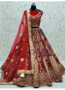 Red Enchanting Baarat Style Heavy Handwork Touch up Bridal Lehenga Choli
