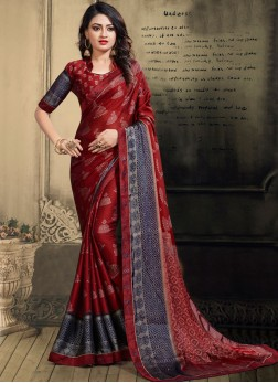 Red Faux Chiffon Printed Saree