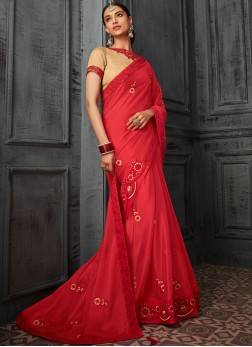 Red Georgette Ceremonial Designer Saree