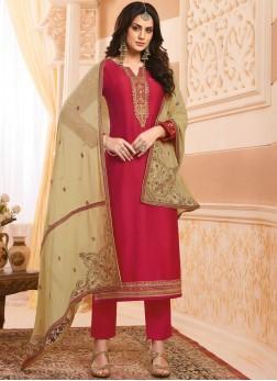 Red Georgette Satin Handwork Designer Salwar Kameez