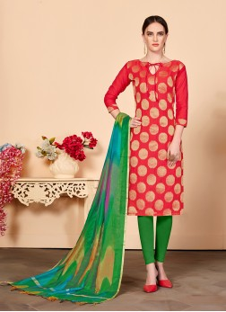 Red Jacquard Silk Casual Churidar Salwar Suit