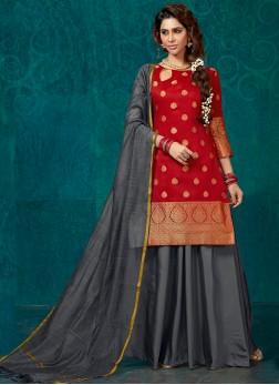 Red Jacquard Silk Sangeet Readymade Lehenga Choli