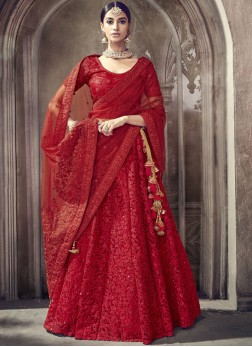 Red Net Bridal Lehenga Choli