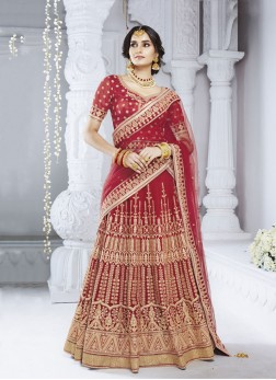 Red Net Embroidered Designer Lehenga Choli