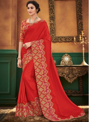Red Patch Border Designer Traditional Saree