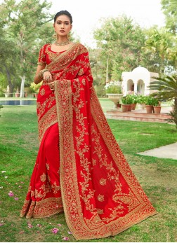 Red Silk Sangeet Designer Saree