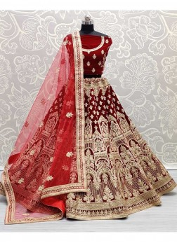 Red Velvet Embroidery Work Bridal Lehenga Choli With Designer Dupatta.