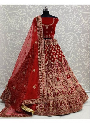 Red Velvet Embroidery Work Bridal Lehenga Choli with Dupatta