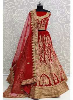 Red Velvet Thread Work Lehenga Choli with Dupatta
