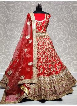 Red Well Crafted Net Bridal Lehenga Choli