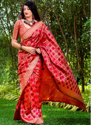 Red Woven Festival Trendy Saree