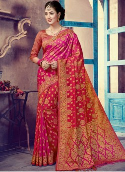 Refreshing Art Silk Hot Pink Traditional Designer Saree