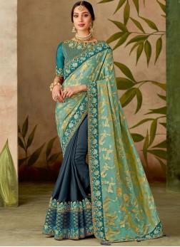 Refreshing Green Embroidered Designer Half N Half Saree