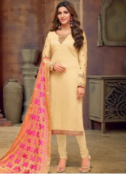Refreshing Stone Work Cotton Silk Churidar Salwar Suit