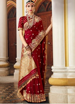 Regal Banarasi Silk maroon designer Saree
