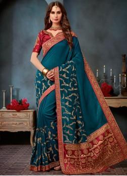 Regal Embroidered Art Silk Blue Designer Saree