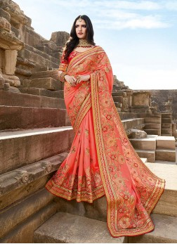 Remarkable Georgette Peach Embroidered Classic Saree
