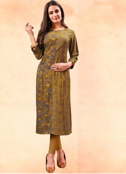 Remarkable Rayon Multi Colour Print Party Wear Kurti