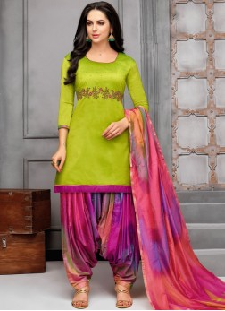 Renowned Embroidered Art Silk Designer Patiala Suit