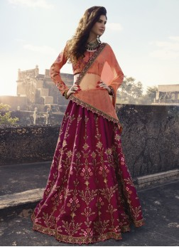 Resplendent Art Silk Embroidered Maroon Trendy Lehenga Choli
