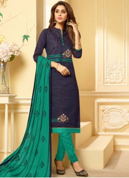 Resplendent Embroidered Cotton Churidar Suit