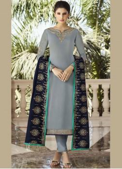 Resplendent Embroidered Georgette Satin Designer Salwar Kameez
