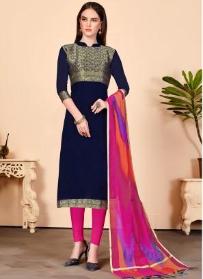 Resplendent Jacquard Silk Festival Churidar Salwar Suit