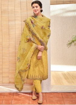 Riveting Embroidered Yellow Jacquard Pant Style Suit