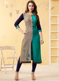 Riveting Multi Colour Embroidered Casual Kurti