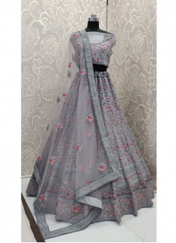 Riveting Resham Net Grey Lehenga Choli