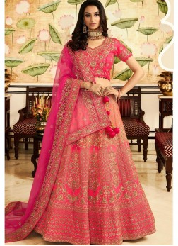 Rose Pink Art Silk Wedding Lehenga Choli