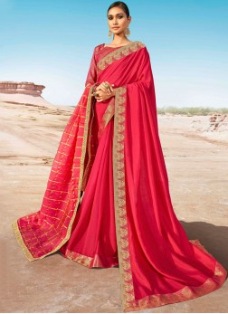 Rose Pink Color Designer Saree