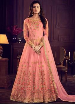 Rose Pink Net Wedding Floor Length Anarkali Suit