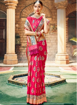 Rose Pink Wedding Banarasi Saree with Blouse