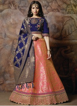 Rose Pink Wedding Silk Designer Lehenga Choli