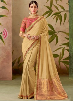 Royal Art Silk Beige Embroidered Traditional Designer Saree