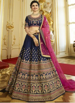 Royal Embroidered Navy Blue Silk Designer Lehenga Choli