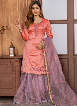 Royal Embroidered Peach Satin Designer Salwar Kameez