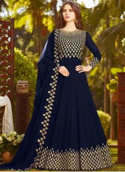 Royal Resham Blue Faux Georgette Floor Length Anarkali Suit