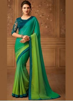 Ruritanian Border Faux Chiffon Green Designer Saree